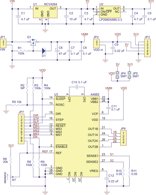 Pololu - Schematic diagram of the md09a A4983 stepper motor driver ...