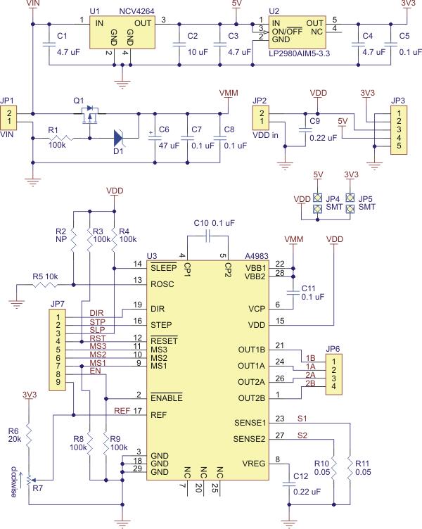 pololu schematic diagram of the md09a a4983 stepper motor driver rh pololu com Stepper Motor Wiring Stepper Motor Driver Board