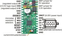 A4983/A4988 stepper motor driver carrier with voltage regulators, labeled top view.