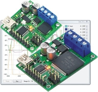 Pololu jrk 21v3 and 12v12 USB motor controllers with feedback.