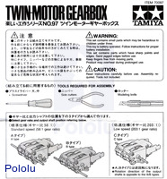 Instructions for Tamiya Twin-Motor Gearbox page 1.