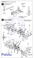 Instructions for Tamiya Twin-Motor Gearbox page 3.