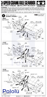 Instructions for Tamiya 3-Speed Crank-Axle gearbox page 1.