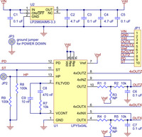 LPY510AL or LPY550AL dual-axis (pitch and yaw or XZ) gyroscope carrier schematic.