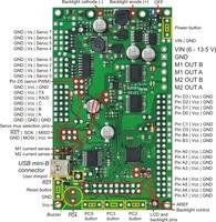 Orangutan SVP kit PCB with pins labeled.
