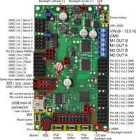 Orangutan SVP fully assembled PCB with pins labeled.