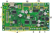 Orangutan SVP kit PCB showing possible locations for included buzzer, pushbuttons, headers, and terminal blocks.