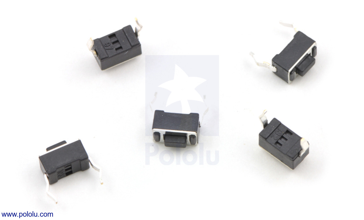 Pololu - Mini Pushbutton Switch: PCB-Mount, 2-Pin, SPST, 50mA (5-Pack)