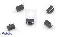 Mini Pushbutton Switch: PCB-Mount, 2-Pin, SPST, 50mA (5-Pack)