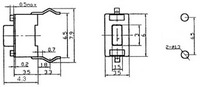 Dimensions (in mm) of mini pushbutton switch: PCB-mount, 2-pin, SPST, 50mA.
