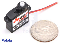 Power HD sub-micro servo HD-1440A with new solid-black case.