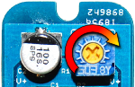 The potentiometer on the ShiftBar controls the current to the LEDs.