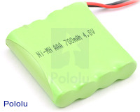 Rechargeable NiMH Battery Pack: 4.8 V, 700 mAh, 4x1 AAA Cells