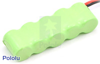 Rechargeable NiMH Battery Pack: 6.0 V, 150 mAh, 5x1 1/3-AAA Cells