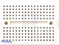 170-point breadboard (white), top view.
