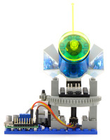 A basic feedback system controlling a LEGO turret with the jrk 21v3, front view.