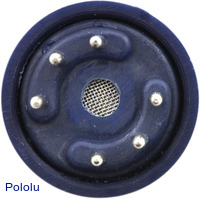 Gas sensor with blue plastic case bottom view.
