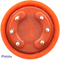 Gas sensor with orange plastic case bottom view.