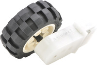 2mm shaft adapter connecting a LEGO wheel to a 120:1 mini plastic gearmotor with 90-degree output.