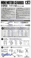 Instructions for Tamiya mini motor gearbox (8-speed) kit page 1.