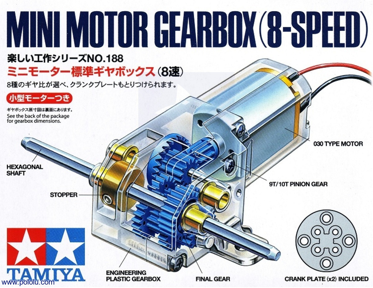 Pololu Tamiya 70188 Mini Motor Gearbox 8 Speed Kit