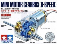 Box front for Tamiya mini motor gearbox (8-speed) kit.