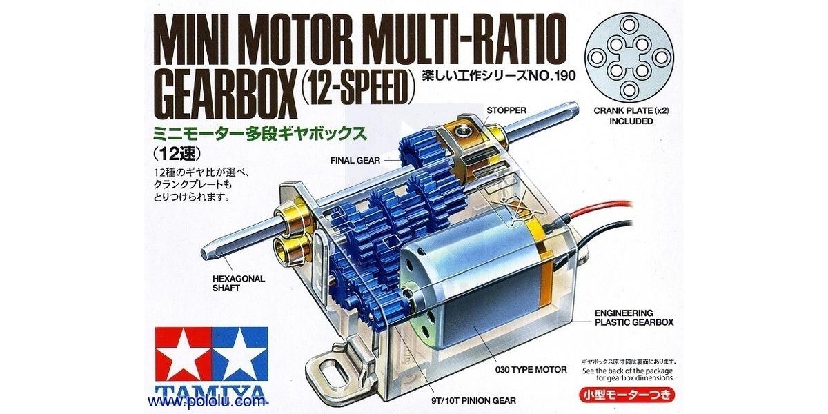 Pololu box front for tamiya mini motor multi ratio for Electric motor repair reno nv