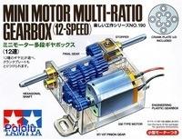 Box front for Tamiya mini motor multi-ratio gearbox (12-speed) kit.