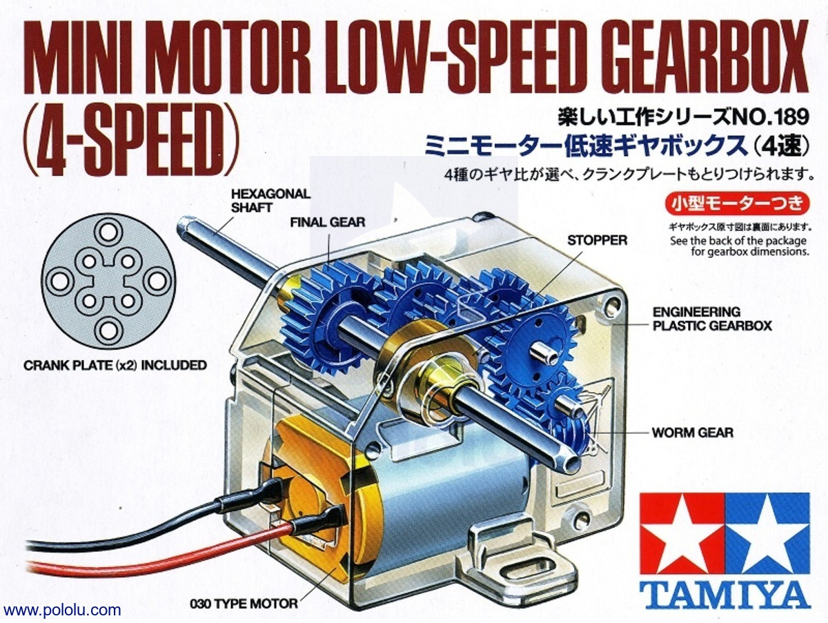 Pololu Tamiya 70189 Mini Motor Low Speed Gearbox 4 Kit Four Wiring Diagram Box Front For