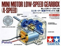 Box front for Tamiya mini motor low-speed gearbox (4-speed) kit.