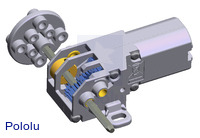 3D rendering of Tamiya's 70188 mini motor gearbox (8-speed).