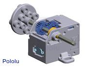 3D rendering of Tamiya's 70189 mini motor low-speed gearbox (4-speed).