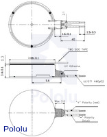 Dimension diagram (in mm) for the shaftless vibration motor 8×3.4mm.