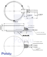 Dimension diagram (in mm) for the shaftless vibration motor 10×2.0mm.