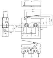Dimensions (in mm) of snap-action switch with 16.7mm lever: 3-pin, SPDT, 5A.