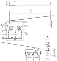 Dimensions (in mm) of snap-action switch with 50mm lever: 3-pin, SPDT, 5A.