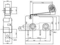Dimensions (in mm) of snap-action switch with 16.3mm roller lever: 3-pin, SPDT, 5A.