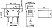 Dimensions (in mm) of rocker switch: 3-pin, SPDT, 10A.