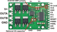 Pololu high-power motor driver CS, labeled top view.