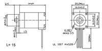 Dimensions (in mm) of stepper motor: bipolar, 200 steps/rev, 20×30mm, 3.9V, 600mA.