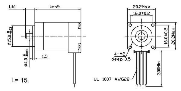 bipolar nema 8, 200 adım, 20×30 mm, 3.9 v step motor - pl-1204 boyutları