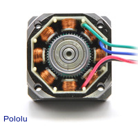 The inside of a bipolar stepper motor.
