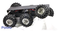 Dagu Wild Thumper 6WD all-terrain chassis, black with chrome-colored hubs.