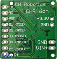 Bottom view of the CHR-6dm attitude and heading reference system (AHRS).