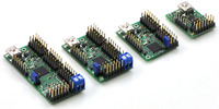 Maestro family of USB servo controllers: Mini 24, Mini 18, Mini 12, and Micro 6.