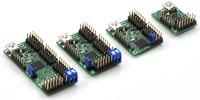 Maestro family of USB servo controllers: Mini 24, Mini 18, Mini 12, and Micro 6.