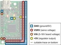 Mini Maestro 18 power pins.