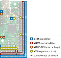 Mini Maestro 24 power pins.