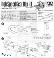 Instructions for Tamiya high-speed gearbox page 1.