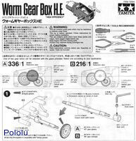 Instructions for Tamiya worm gearbox page 1.